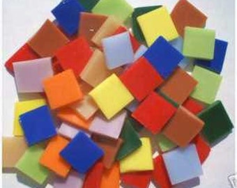 200 Fiesta Colors Mix  Mosaic tile  Stained Glass Tiles Handcut art craft hobby supplies made in USA