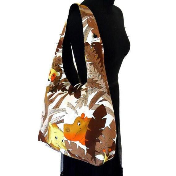 Retro Boho Bag, in a 70s Zoo Jungle Animal Vintage Fabric