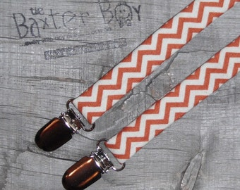 Burnt Orange and White chevron suspenders, little boy suspenders - photo prop, wedding, ring bearer, accessory