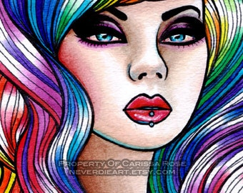 Limited Edition 12 out of 25 5x7 in Art Print - Hard Candy 2- Pin Up Girl With Rainbow Hair