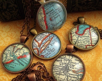 Custom Vintage Map Pendant Necklaces - You Pick the Worldwide City - Altered Art Upcycle Repurpose Jewelry Personalized Gift Ideas