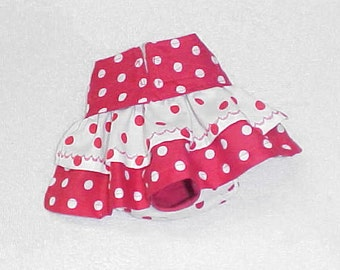 Female Dog Diaper Pants Skirt Panties Pet Wrap Britches  Size XSmall - 5X Red Polka Dots Fabric
