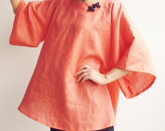 Women Linen Clothing, Linen Tunic dress, Linen dress, Cheongsam dress, Loosefit dress, Red Linen dress, Long Sleeves