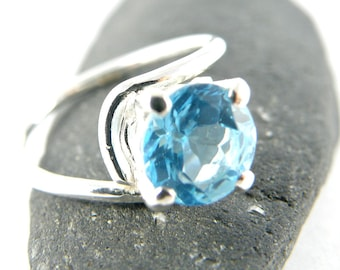 Solitaire Engagement Ring, Blue Topaz Sterling Silver Ring, Asymmetric Ring, Round Blue Topaz Ring Gift for Women - MADE TO ORDER
