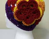 Openwork Crochet Sunset Flowers Beanie Retro Hat Fall Autumn Skullcap