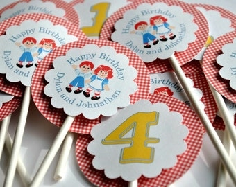 Raggedy Anne and Andy Cupcake Toppers