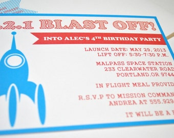 Rocket Birthday Invitations