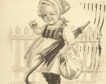 Dutch Girl With Umbrella  Romantic Pink of Perfection vintage postcard 1914
