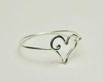 Heart ring, silver heart, sterling silver heart, sterling silver heart ring, custom size rings
