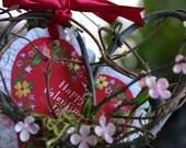Victorian Valentines Day Decor wreath door hanger Gift shabby chic romantic handmade heart with valentine