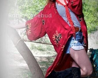 Vintage Red Boho Hawaiian Hi-Lo Kimono