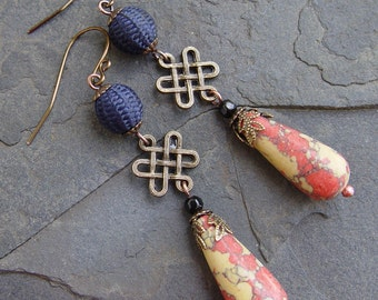 Antique Fabric Fiber Beads, Chinese Knot Connectors, Mosaic Magnesite Teardrop Earrings Boho Asian Oriental Celtic