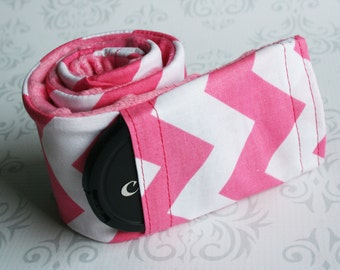 Camera Strap Cover with Lens Cap Pocket - Padded - Photographer Gift - Pink Chevron with Pink Padded Minky- MADE TO ORDER