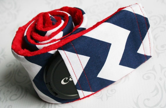 Camera Strap Cover with Lens Cap Pocket - Padded Minky - Navy Chevron with Red Minky- MADE TO ORDER