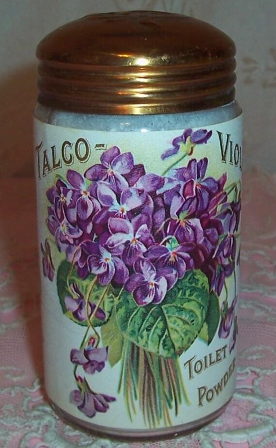 ANTIQUE PERFUME Sachet Powder Bottle...de Longpre VIOLETS Litho Label