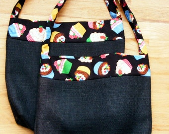 CLEARANCE!! Set of 2 Black Burlap Grocery Shopping Bags with Cupcake Print Trim
