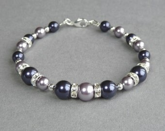 Dark Purple Bracelet - Amethyst Pearl and Crystal Bridal Party Jewelry - Aubergine and Lilac Wedding - Eggplant Bridesmaid Gifts