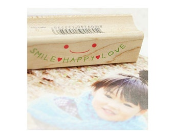 Smile Happy Love Message Rubber Stamp
