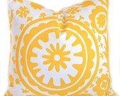 Yellow PIllows Decorative Throw Pillows Accent Pillows Corn Yellow Suzani Twill Pillow Covers 18 x 18 Inches