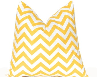 Yellow Chevron Pillow Covers - Decorative Throw Pillow Covers - 18 x 18 Inches - Pair of Two - Corn Yellow Pillow Covers - Yellow Cushion