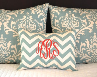 Pillow Shams Village Blue Bedding Decorative Throw Pillow Covers Standard Full Queen Bedding 19 x 25 Includes Monogrammed Pillow Cover