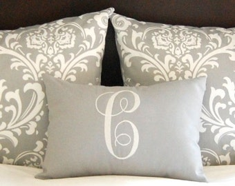 Standard Pillow Shams - Bed Shams - Throw Pillow Covers - Gray Bedding - Grey Pillow Covers - Monogram Pillow Included - Guest Bedroom Decor