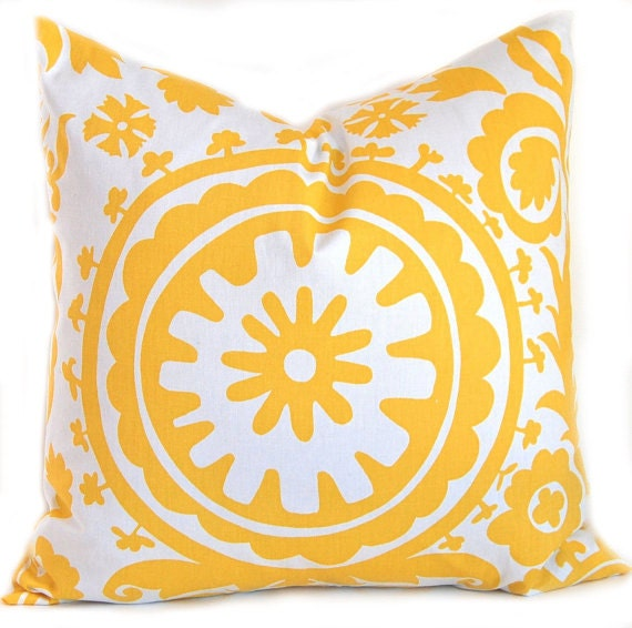 Items similar to Yellow PIllows Decorative Throw Pillows Accent Pillows Corn Yellow Suzani Twill ...