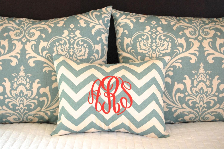 Decorative Standard Pillow Shams : Standard Pillow Shams with Monogrammed Pillow Blue Bedding