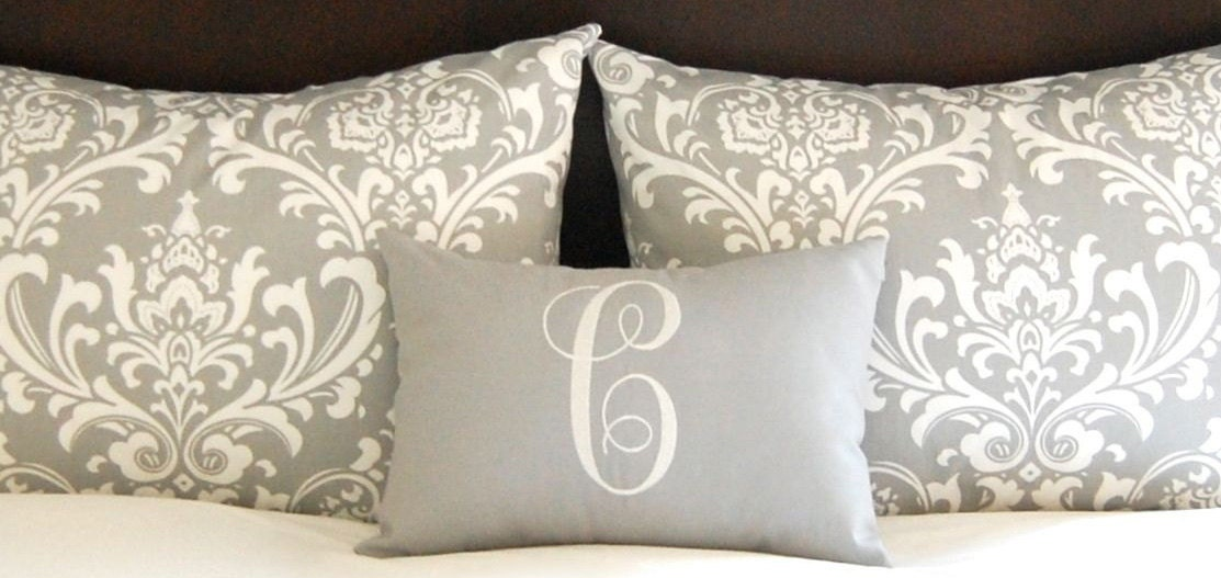 Gray Throw Pillows For Bed : Standard Pillow Shams Bed Shams Throw Pillow Covers Gray