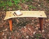 Zena Road Bench: Wood Garden Bench Eco-Sourced Catalpa and Locust Wood Patio Furniture