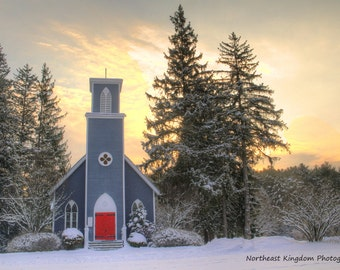 Sunrise over the Red Door Church Print