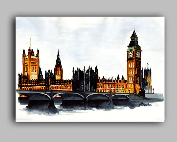 "London, Houses of Parliament, Big Ben Watercolour Print 8"" x 11.5"" (A4) - Paint the Moment"