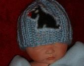Hand made PREEMIE HAT Beanie Kufi Infant blue w black Scotty dog applique hand knit handmade