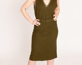 1960s Army Green Wool Shift Dress with Matching Belt S/M