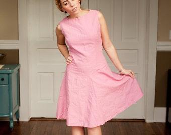 1960s Dusty Pink Textured Sleeveless A-Line Dress M