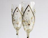 CUSTOM ORDER for McKenzie Wedding Toasting Champagne Glasses Perl White Flowers Gold Swarovski light Topaz