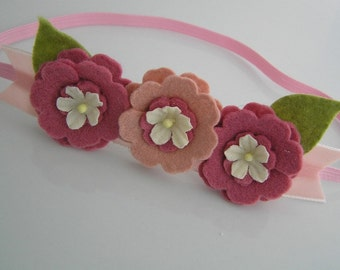 Baby Headband, Felt Flower Headband, Pink Flower Headband, Baby Girl Headband, Newborn Headband, Little Diva Boutique, Felt Bow, NO.14-13
