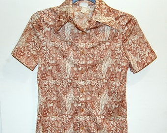 S Vintage 70s Brown and Cream Feather Shirt