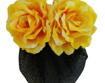 Yellow Silk Rose flower Barrette Hair Clip With Snood Net