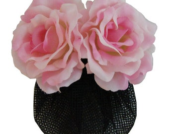 Pink Silk Rose flower Barrette Hair Clip With Snood Net