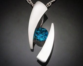 London blue topaz necklace, December birthstone, statement necklace, blue topaz, bold jewelry, artisan necklace, Argentium silver - 3489