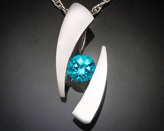blue topaz necklace - December birthstone - statement necklace - turquoise blue - eco friendly - Argentium silver - modern jewelry - 3489
