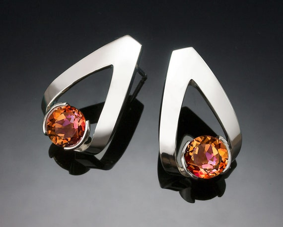 mystic topaz earrings, Argentium silver, artisan earrings, sunrise mystic topaz, orange gemstone, designer jewelry - 2470