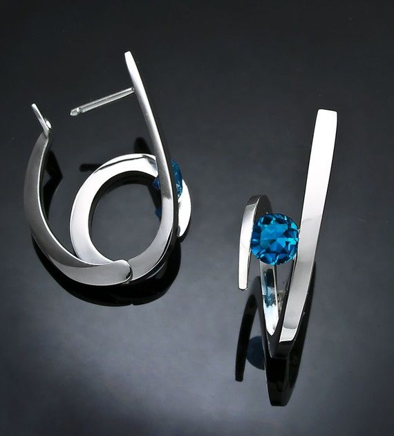 London blue topaz earrings, statement earrings, hoop earrings, December birthstone, Argentium silver, hinged backs - 2429