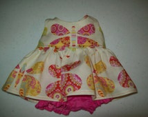 "Baby Alive  And Waldorf Doll Clothes Kumari Gargen Pink Butterfly  Dress 10"" 12"" Or 15"""