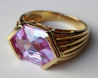 Vintage Ring Gold Plated Sterling Silver Pink Jeweled Cocktail Ring size 7 1/2