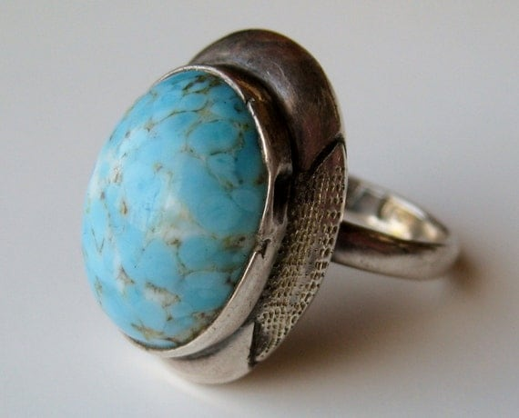 vintage 60s ring taxco mexican sterling silver robin s egg