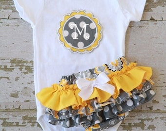 Gray And Yellow Ruffle Bottom Bloomers and Personalized Onesie