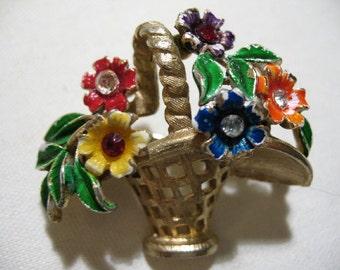 Vintage ST. LABRE Enamel Flower Basket Brooch