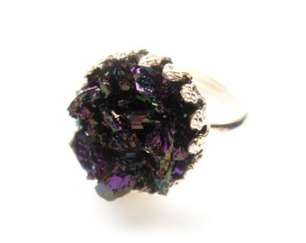 Rainbow Titanium Druzy Crystal Ring